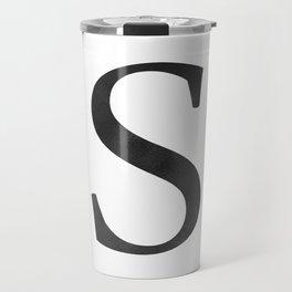 Letter S Initial Monogram Black and White Travel Mug