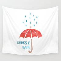 fangirl Wall Tapestries featuring Books and Rain by bookwormboutique