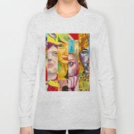 Female Faces Portrait Collage Design 1 Long Sleeve T-shirt