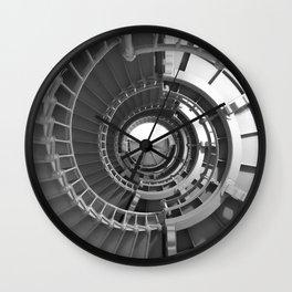 Gray's Harbor Lighthouse Stairwell Spiral Architecture Washington Nautical Coastal Black and White Wall Clock