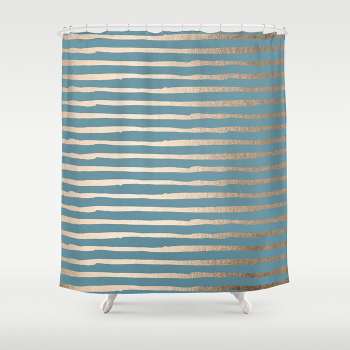 Abstract Stripes Gold Tropical Ocean Blue Shower Curtain