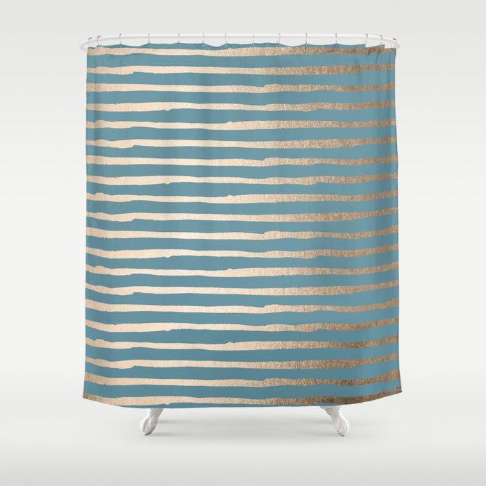 Abstract Stripes Gold Tropical Ocean Blue Shower Curtain By Followmeinstead