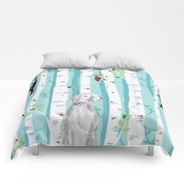 WEIMARANER AND WOODPECKERS Comforters