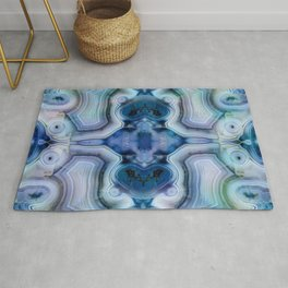 Abstract Kaleidoscope Blue Mineral Crystal Texture Rug