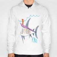 submarine Hoodies featuring Shark Submarine by Ryan van Gogh