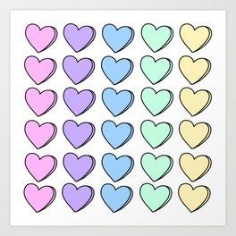 Candy Hearts Art Print