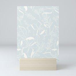 Floral Line Art (Pale Blue)- Pattern Mini Art Print
