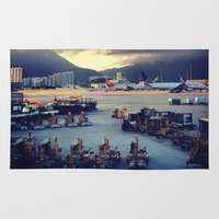 airplanes Area & Throw Rugs featuring Dawn at Chek Lap Kok by Gray