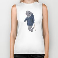suits Biker Tanks featuring Animals in Suits - Porpoise by Katadd