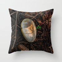 mushroom Throw Pillows featuring Mushroom by Christia Caldwell Moody