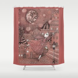 Strawberry Moon in June Shower Curtain