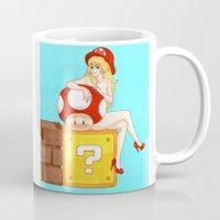 princess peach Mugs featuring Princess Peach from Mario by Naineuh