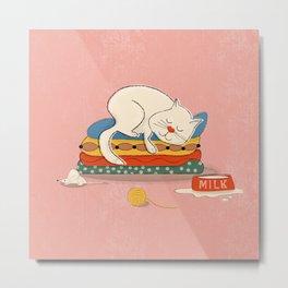 Sleeping white cat Metal Print