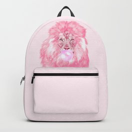 Lion Chewing Bubble Gum in Pink Backpack