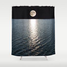 Ocean Moonlight | Moon Photography | Stars and Ocean | Night sky Shower Curtain