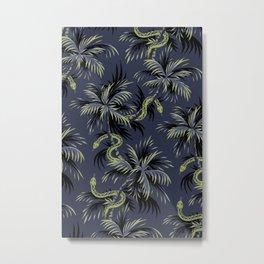 Snake Palms - Dark blue/gold Metal Print