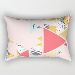 Gold Abstraction, Abstract Eclectic Colorful Geometrical, Blush Pastel Metallic Chic Graphic Design Rectangular Pillow