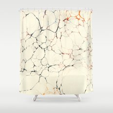 Marble Cream Blue / Orange Square # 2 Shower Curtain