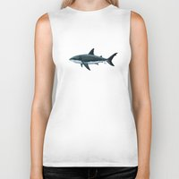 biology Biker Tanks featuring Carcharodon carcharias  ~ Great White Shark by Amber Marine
