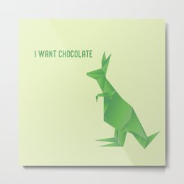 I Want Chocolate - Origami Green Kangaroo Metal Print