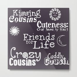 Best cousins words family typography wall art print Metal Print