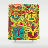 tiki Shower Curtains featuring Tiki tiki by Binnyboo
