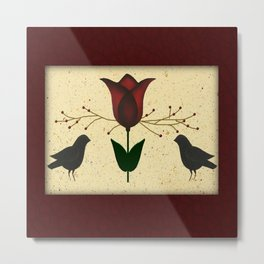 Primitive Tulip And Crows Metal Print