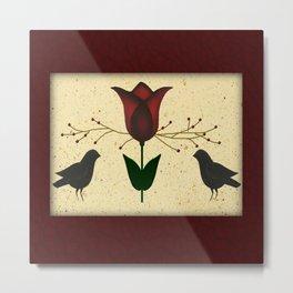 Primitive Tulip And Crows Metal Print