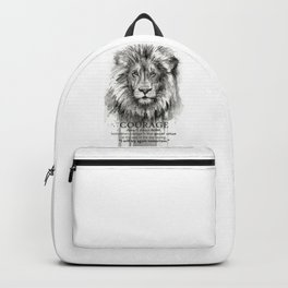 Lion Courage Motivational Quote Watercolor Painting Backpack