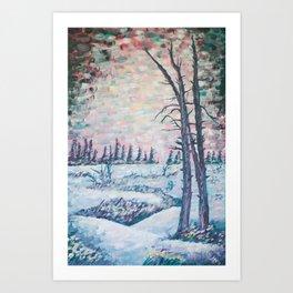 Yellowstone Lower Geyser Basin - Abstract Acrylic Painting Art Print