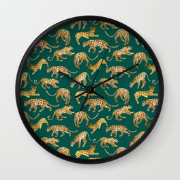 Jaguars in Jade Wall Clock