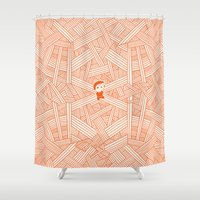 labyrinth Shower Curtains featuring Labyrinth by Jarvis Glasses
