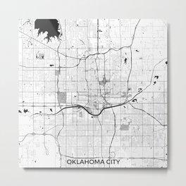 Oklahoma City Map Gray Metal Print