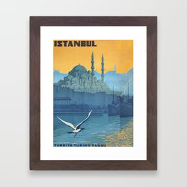 Mid Century Modern Travel Vintage Poster Istanbul Turkey Grand Mosque Framed Art Print