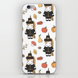 cartoon thanksgiving pattern with pilgrim unicorns, pumpkins, apples, pears, leaves and acorns iPhone Skin