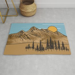 Minimalistic  Landscape with golden mountains Rug