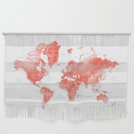 Living coral watercolor world map with cities Wall Hanging