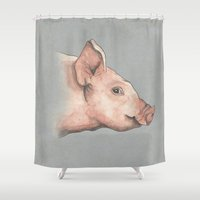 guinea pig Shower Curtains featuring Pig by Marta Bocos