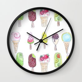 Watercolor. Ice cream . i Wall Clock