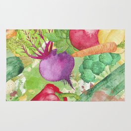Mixed Vegetables Watercolor Rug