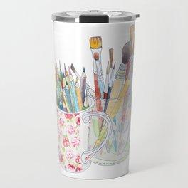 Art Tools: pencils and brushes (ink & watercolour) Travel Mug