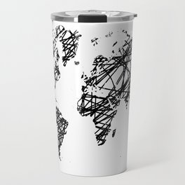 Scribble world map Travel Mug