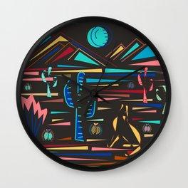 Coyote Howls: NightSouthwestern Desert Highs w/ Black background  Wall Clock