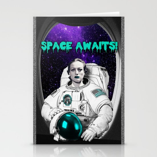 SPACE AWAITS JOAN CRAWFORD Stationery Cards