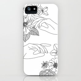 Hands and flowers line drawing illustration - Isabel iPhone Case