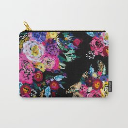 Colorful Floral Painting on Black Canvas. Carry-All Pouch
