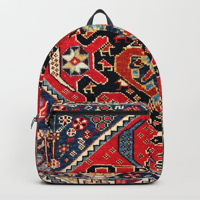 Qashqa'i Antique Fars Persian Bag Face Print Backpack