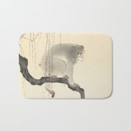 Monkey on tree branch, Ohara Koson Bath Mat