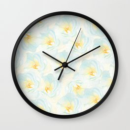 Watercolor hand painted pastel blue yellow floral pattern Wall Clock