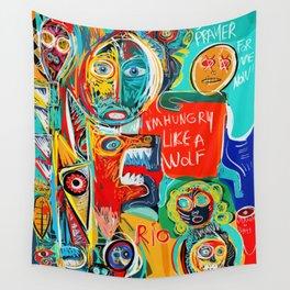 I'm hungry like a wolf Street Art Graffiti Wall Tapestry
